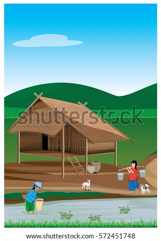 lifestyle of agriculturist in countryside vector design