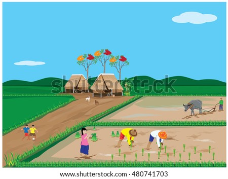 lifestyle of farmer at countryside vector design