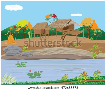 Lifestyle of villager vector design