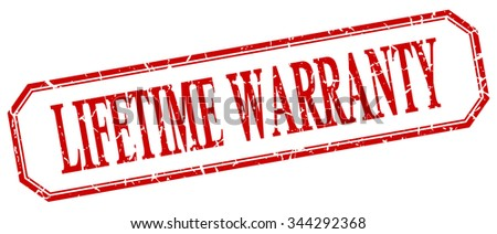 lifetime warranty square red grunge vintage isolated label - stock vector