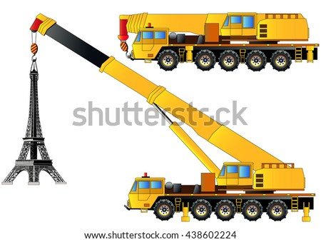 Lifting crane doing heavy lifting. Tower and harbor lifters. Vector illustration. Isolated on white. Icon. Flat style