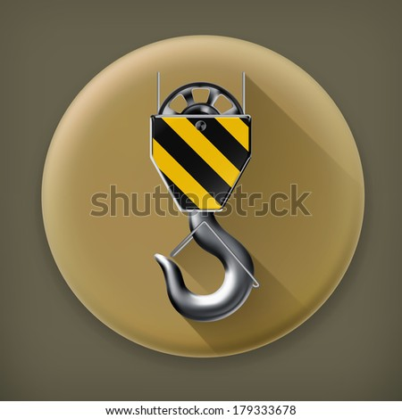 Lifting hook long shadow vector icon - stock vector