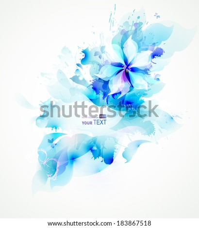 Light abstract blue poster with flower  - stock vector