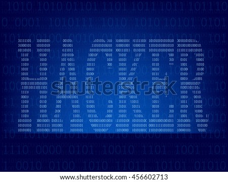 Light abstract technology binary code on dark blue color background,Vector illustration