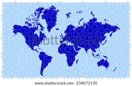 Light dark blue color world map stock vector 234072130 shutterstock light and dark blue color world map made of 680 piece of jigsaw puzzle removable gumiabroncs Choice Image