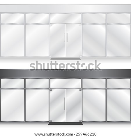 Light and Dark Glass Store Facades with no signs - stock vector
