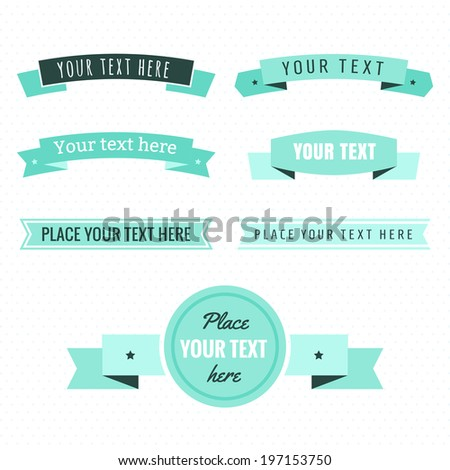 Light and dark mint green and turquoise color ribbons vintage vector set - stock vector