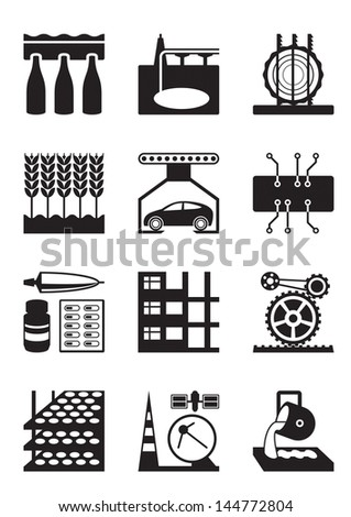 Light and heavy industry - vector illustration - stock vector