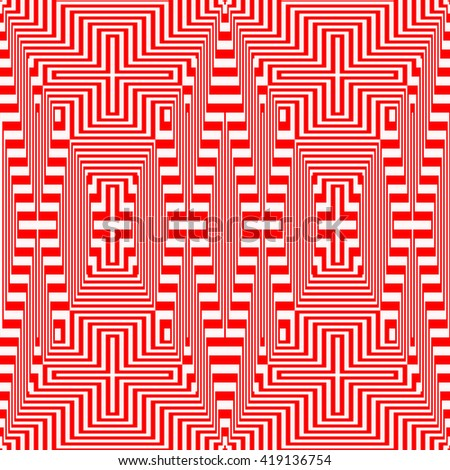 Light and heavy striped red white pattern. Abstract repeated lines. Geometric figures texture background. Vector illustration