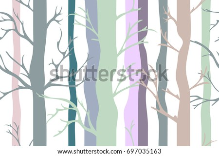 Light autumn forest. Seamless vector pattern with trees, birds and stars. Retro textile collection. On white background.