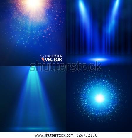 Light background set. Shining collection. Spotlights, banners & explosions. Bokeh design. Vector illustration - stock vector