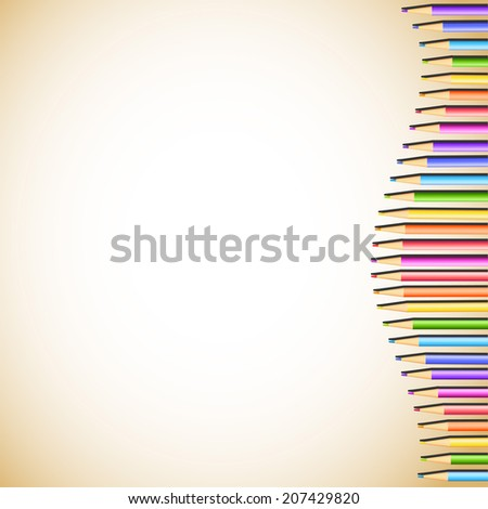 Light  background with bright colored pencils for your design