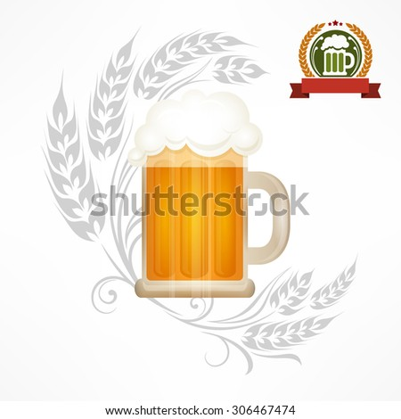 Light beer in glass mug with wheat ornate, vector illustration - stock vector