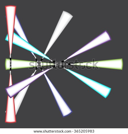 Light blade, light sword, futuristic science fiction energy weapon. Frame, border, banner or background. Vector Illustration.