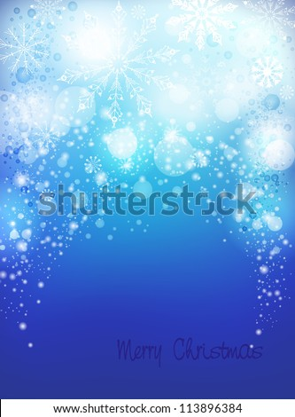 Light blue abstract Christmas background with white snowflakes. Vertical - stock vector