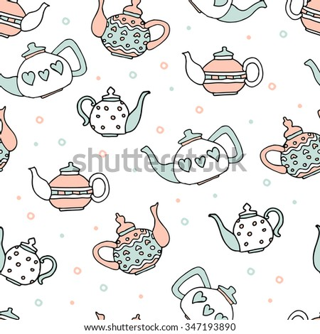 light blue and pink colored set of four cute teapots, hand drawn seamless pattern - stock vector