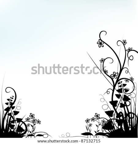 Light Blue Background and Florals - colored abstract illustration, vector - stock vector
