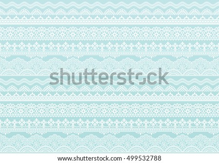 light blue background of lace trims.