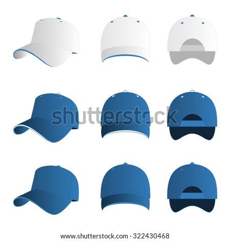 Light blue baseball cap vector set - stock vector
