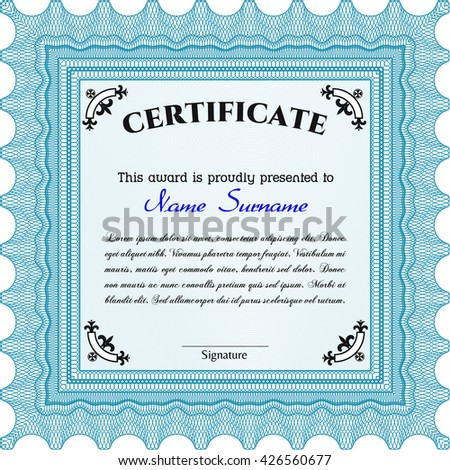 Light blue Certificate. Detailed. Complex design. Printer friendly.