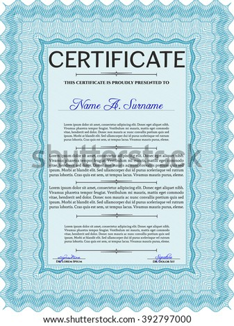 Light blue Certificate of achievement template. With guilloche pattern and background. Money design. Diploma of completion.