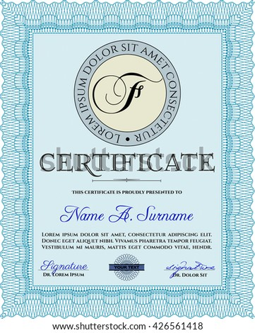Light blue Certificate or diploma template. Easy to print. Customizable, Easy to edit and change colors. Cordial design.