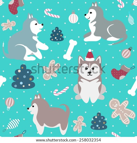 Light blue Christmas seamless pattern with cute cheerful husky puppies, fir trees, dog food bones, ornaments, christmas socks and gingerbread man sweets - stock vector
