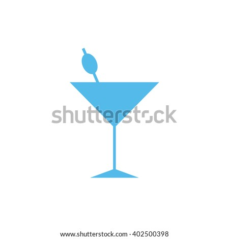 Light blue cocktail glass vector icon silhouette illustration