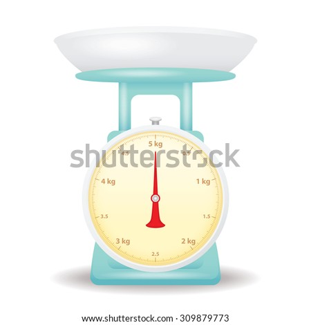light blue color weight scale market isolate on white background