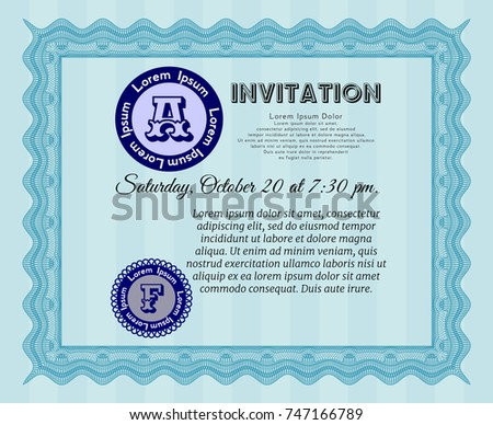 Light blue formal invitation vector illustration stock vector light blue formal invitation vector illustration with guilloche pattern beauty design stopboris Images