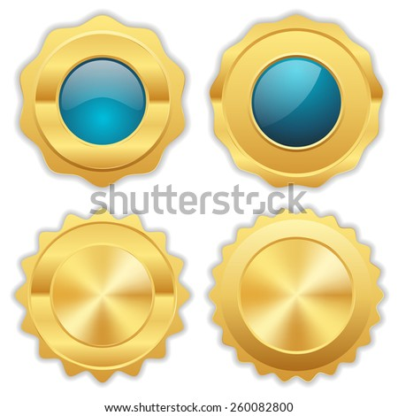 Light blue gold badge collection on white background - stock vector