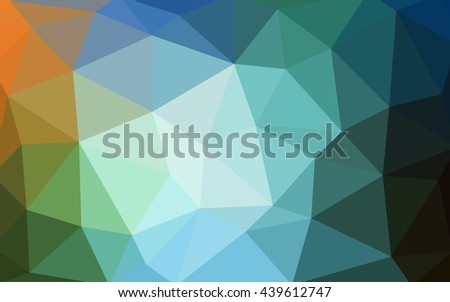 Light blue, green polygonal illustration, which consist of triangles. Triangular design for your business. Geometric background in Origami style with gradient.