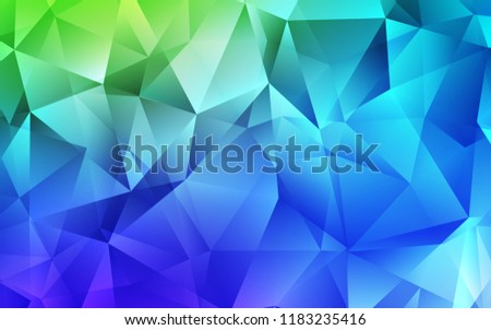 Light Blue, Green Vector Backdrop With Lines, Triangles. Illustration With  Set Of Colorful
