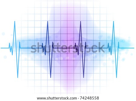 Light blue heart beat diagram - stock vector