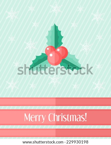 Light blue holiday Christmas card with holly berry and red ribbons - stock vector
