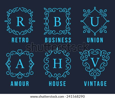 Light Blue Monogram Logos Set Graphic Design on Dark Gray Background. Emphasizing Retro Business union  Amour House and Vintage Concepts. - stock vector