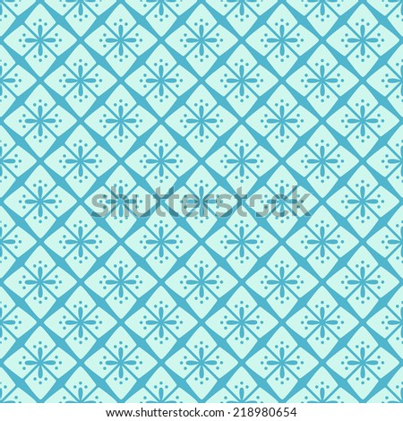 Light Blue Simple Seamless Texture with Symmetry Decoration. Vector Illustration of Background Pattern - stock vector