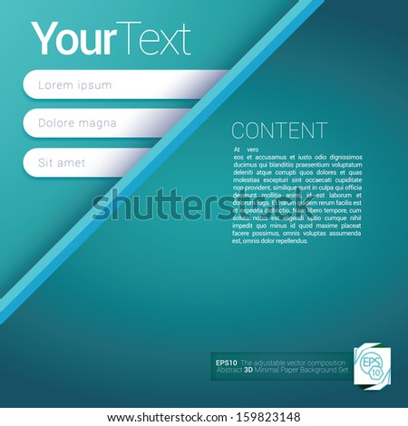 Light blue - turquoise  top corner edition of a scalable futuristic minimal  vector software 3d layout design with navigation menu for printing, for web, or for mobile application & for universal use - stock vector