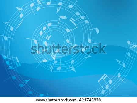 light blue vector background with spiral music decoration - stock vector