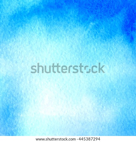 Light blue watercolor hand drawn banner. Vector watercolor paper grain textured background. Abstract hand paint square stain backdrop - stock vector