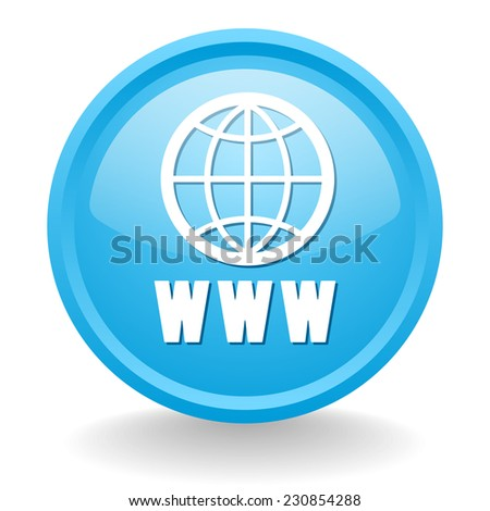 Light blue world wide web button on white background