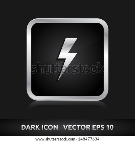 Light bolt flash icon | color dark black silver metal grey white | icon set | abstract vector symbol | template design | shadows shiny | business button | abstract 3d - stock vector