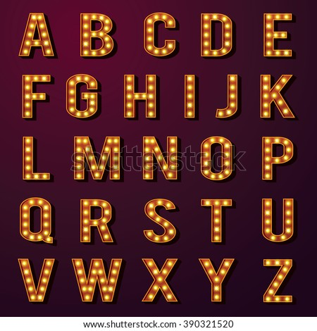 Light Bulb Alphabets Set - stock vector
