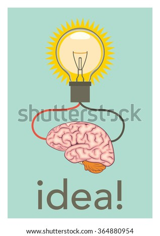 Light bulb and brain vector illustration with concept of idea - stock vector