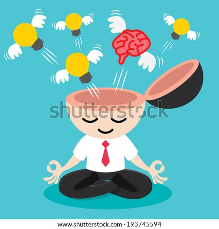 Light bulb and brain with wing flying freedom from businessman meditation. Building idea concept. Cartoon flat design. Vector illustration - stock vector