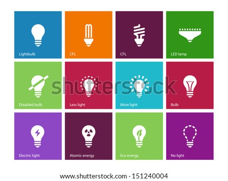 Light bulb and CFL lamp icons on color background. Vector illustration.