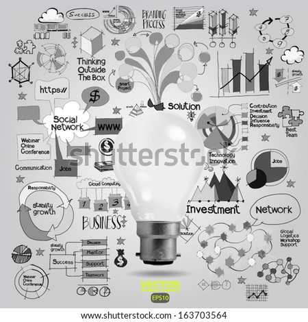 light bulb and drawing business strategy as concept ,vector - stock vector