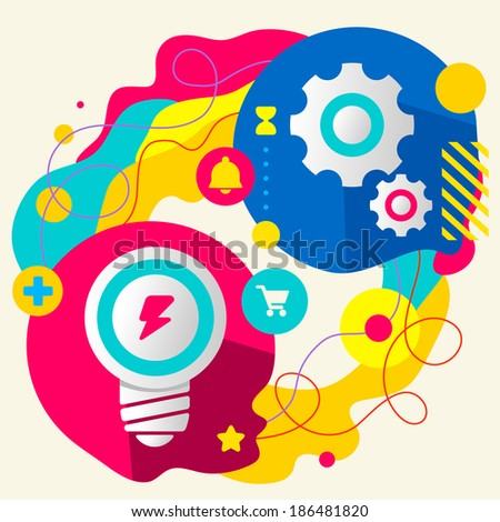 Light bulb and gears on abstract colorful splashes background with different icon and elements. Internal mechanism, structure and operating principles. Flat  design for the web, print, banner - stock vector