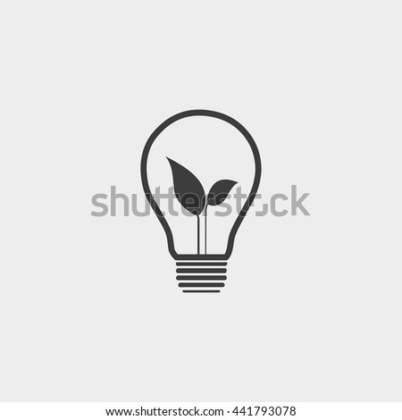 light bulb and leaf icon in a flat design in black color. Vector illustration eps10 - stock vector