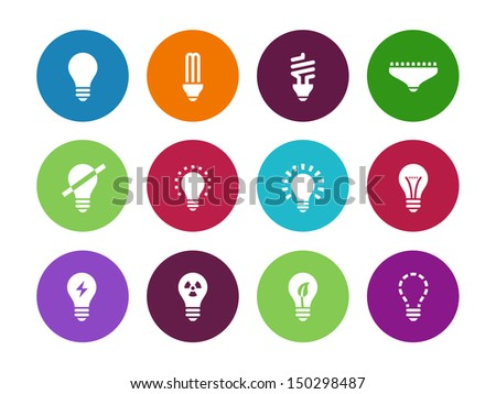 Light bulb and LED lamp circle icons on white background. Vector illustration.